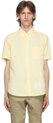 Thom Browne Yellow Seersucker Short Sleeve Shirt