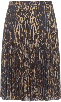Burberry Leopard Print Silk Skirt