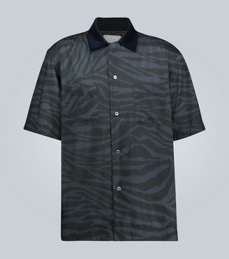 Sacai Zebra-printed short-sleeved shirt