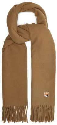 MAISON KITSUNÉ Fox Head-applique Fringed Wool Scarf - Beige