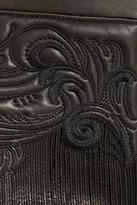 Roberto Cavalli Embroidered leather skinny pants