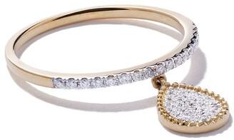 As 29 18kt yellow gold Mye pear beading pave diamond ring