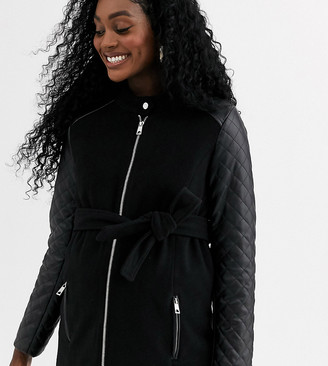 Mama Licious Mamalicious zip up coat with quilted sleeves