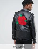 Reclaimed Vintage Leather Biker Jacket With Rose Back Patch