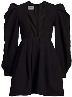 Valentino Women's Puff-Sleeve Deep V Square-Neck Mini Dress
