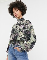 Monki floral print cropped top with long sleeve in black