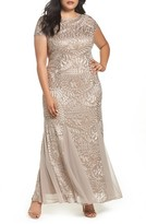 Alex Evenings Plus Size Women's Cowl Back Embroidered Lace Gown
