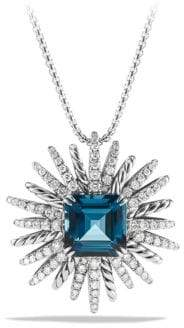 David Yurman Starburst Necklace with Diamonds and Hampton Blue Topaz