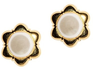 Lele Sadoughi Faux Pearl Carnation Stud Earrings