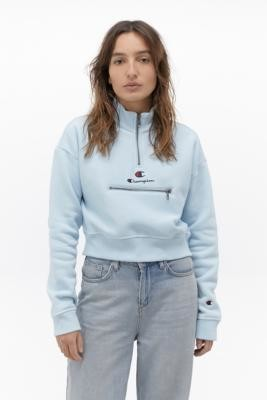 Champion Script Logo Baby Blue Half-Zip Sweatshirt - Blue XS at Urban Outfitters
