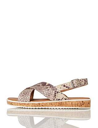 BEIGE find. Crossover Cork Sole Leather Flatform Sandals, Snake Print)