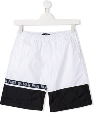 Balmain Kids logo swim trunks
