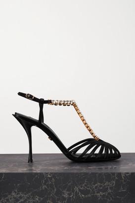 Dolce & Gabbana Crystal-embellished Satin Sandals - Black