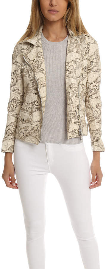 Giorgio Brato Asym Lace Leather Jacket