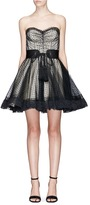Marc Jacobs Belted polka dot tulle layered strapless corset dress