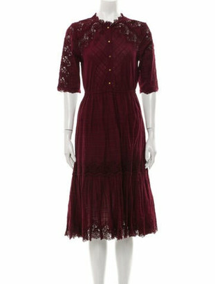 Ulla Johnson Mock Neck Midi Length Dress Purple