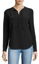 Rebecca Taylor Sofia Silk Split-Neck Blouse, Black