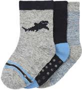 Joe Fresh Baby Boys' 3 Pack Grip Socks, Grey (Size 0-12)