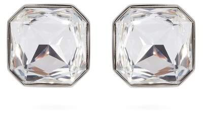 Saint Laurent Smoking Crystal Embellished Clip On Earrings - Womens - Silver
