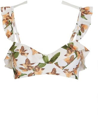 Agua Bendita Margot Ruffled Floral Bikini Top