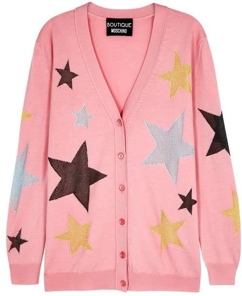 Moschino Pink Star-insert Wool Cardigan