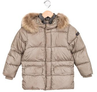 Il Gufo Boys' Fur-Trimmed Puffer Coat