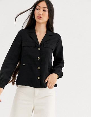 And other stories & button through utility blouse in black