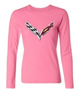 OMMIIY Women's General Motors Corvette Logo Long Sleeve T-Shirt Pink XXL