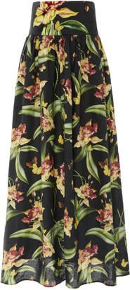 Agua Bendita Agua By Tropical Painted Linen Maxi Skirt