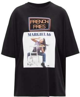 MM6 MAISON MARGIELA French Fries-print Cotton-jersey T-shirt - Black