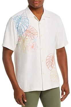 Tommy Bahama Sketched Tropics Silk Regular Fit Short-Sleeve Shirt