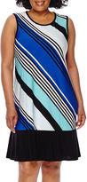 Tiana B Blu Sage Sleeveless Diagonal Stripe Flip Flop Dress