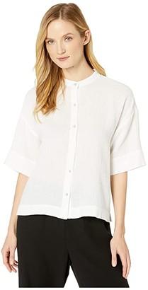 Eileen Fisher Organic Cotton Lofty Guze Mandarin Collar Elbow Sleeve Boxy Shirt (White) Women's Clothing