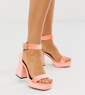 Asos Design DESIGN Wide Fit Witty chunky platform block heels in peach-Orange