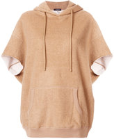 R 13 fur trim hooded top - women - Cotton/Camel Fur - XS