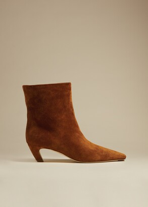 KHAITE The Ankle Boot in Caramel Suede