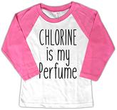 Micro Me White & Pink 'Chlorine is My Perfume' Raglan Tee - Toddler & Girls