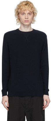 Sunspel Navy Cotton Crewneck Sweater