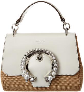 Jimmy Choo Madeline Raffia & Leather Top Handle Shoulder Bag