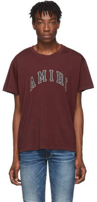 Amiri Burgundy College Logo T-Shirt