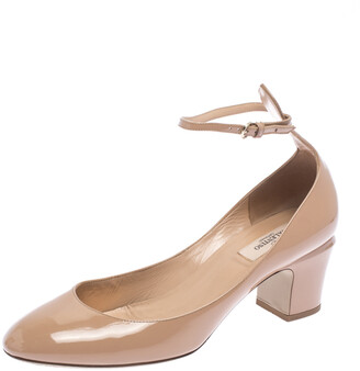Valentino Beige Patent Leather Tango Block Heel Ankle Strap Pumps Size 40.5
