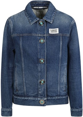 Burberry Denim Logo Patch Buttoned Jacket