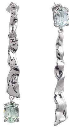 Alexis Bittar Crumpled Rhodium Mismatch Linear Post Earring