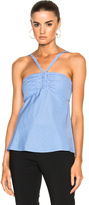 Tibi Gingham Ruched Halter in Blue,Checkered & Plaid,White.