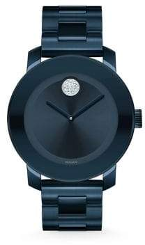 Movado Bold Crystal& Blue Stainless Steel Bracelet Watch