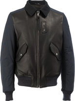 Lanvin collared bomber jacket - men - Cotton/Calf Leather/Polyester/Wool - 48