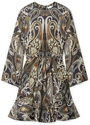 Chloé Printed Metallic Silk-blend Mini Dress