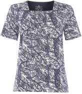 Tigi Short Sleeve Leaf All Over Print Top