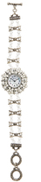 Geneva Platinum White Bead Embellished Toggle Bracelet Watch