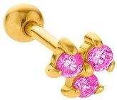 FreshTrends 2mm Tourmaline (October) Three Gem 14K Yellow Gold Cartilage Stud Earring